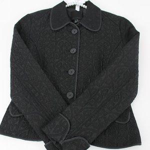 The Limited Black Floral Quilted Fitted Blazer